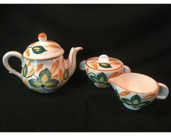 "Wheelock Pottery ""Black Forest"" Tea Set. Yellow n Green Flower"