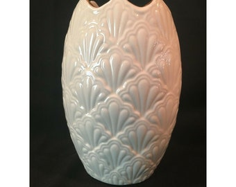 Vintage Classic Ivory Lenox Vase. Quilted Ivory Porcelain with Gold Trim 6 3/4