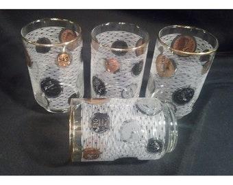 Vintage Black & Gold Libbey Coin Glasses white stripes Mad Men MCM tumblers.