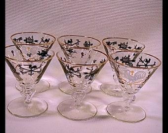 1950's Libbey Curio Liquor Cocktail Glasses