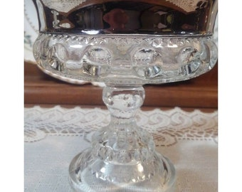Vintage Kings Crown by Indiana Glass 1970s Platinum Flashed Compote.