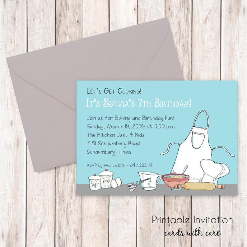 Cooking Party Invitation Printable Custom