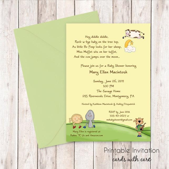Nursery Rhyme Baby Shower Invitation Printable Invitation Design