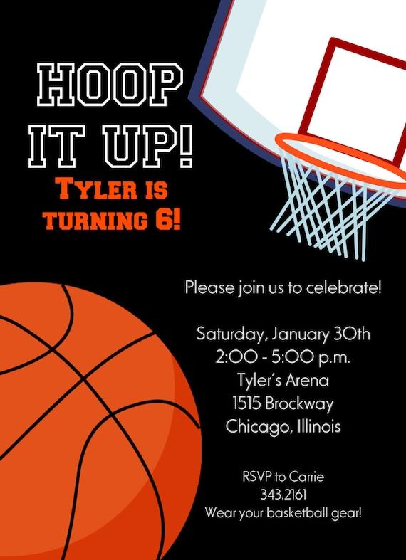 basketball invitation printable invitation kids birthday etsy