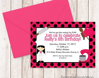 Girl Cooking Party Invitation, Top Chef Cooking Invitation, Printable Invitation, Custom Wording, JPEG File