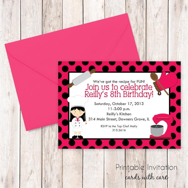 Girl Cooking Party Invitation Top Chef Printable Custom Wording JPEG File