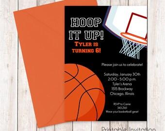 Basketball Invitation, Printable Invitation, Kids Birthday, Boys Birthday, Sports Birthday, Custom Wording, JPEG File