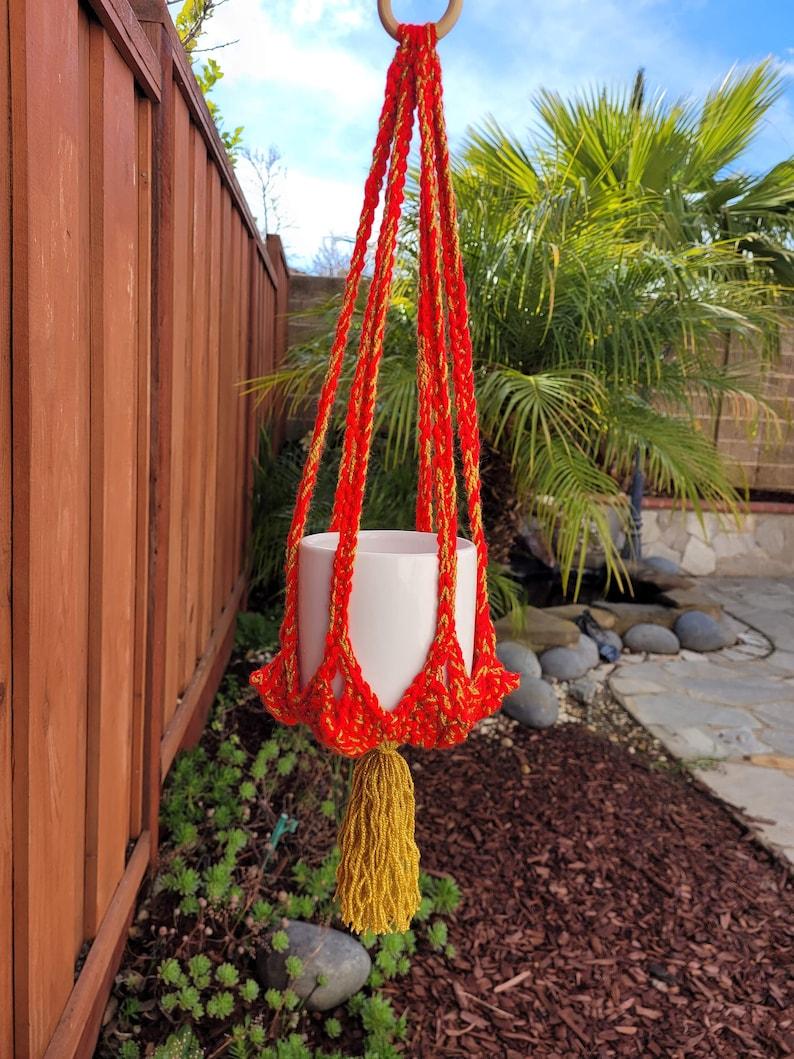 OOAK Asian Lantern Crochet Plant Pot Hanger For 4 Pot w Tassel