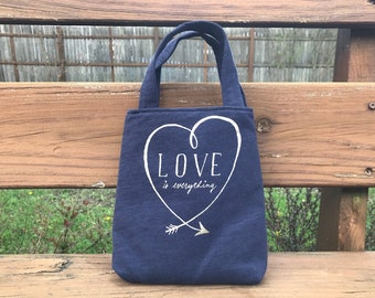 Knitting project bag, gift for mom, WIP bag, small tote, sock project bag, tote bag made from t-shirts, upcycled clothing, free shipping