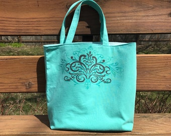 Knitting Project Bag, teal with pinstripe design, WIP Bag, gift for knitters