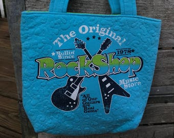 Rock Shop guitar tote back, upcycled, recycled t-shirts