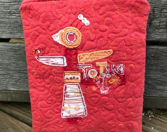 Dark pink and orange TOTEM bird zippered pouch, upcycled, repurposed t-shirts