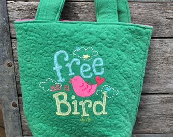 Free as a Bird cute tote bag made from repurposed t-shirts, upcycled, recycled, green and pink