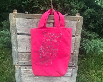 Pink sparkly owl tote bag, upcycled clothing, tshirt tote, use for knitting projects, or back to school