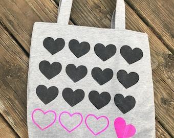 Knitting project bag, repeating hearts, WIP bag, upcycled clothing, grey, black and pink, large knitting tote, free shipping