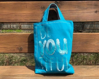 Knitting project bag, WIP bag, T-shirt tote, blue BEAUTIFUL sparkles