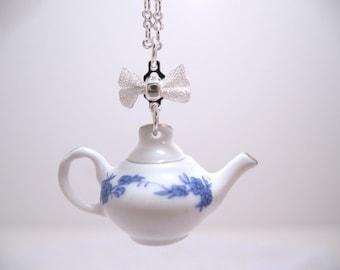 Miniature Porcelain Teapot Necklace