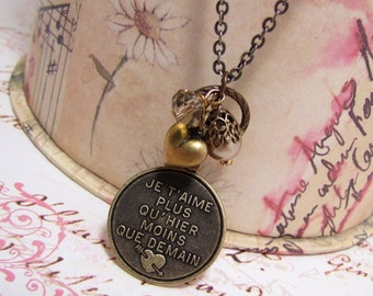 I Love You  Pendant  Necklace/French Charm Necklace/I Love You More Than Yesterday Less Than Tomorrow