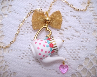 Ribbons And Roses Teapot Necklace