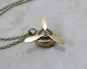 Propeller Necklace - Fidget Spinner Necklace-Spinning  Propeller Aviation Charm- Aviator Jewelry
