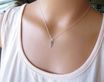 Tiny Angel Wing Necklace Sterling Silver