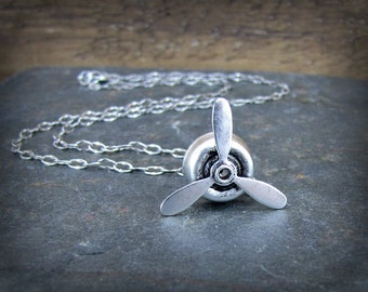 Propeller Necklace- Spinning  Aviation Charm Necklace-Aviator Jewelry- Fidget Spinner Necklace