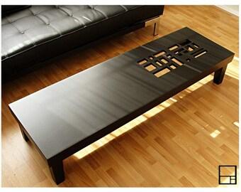 MSTRF // Classic II // Modern Maple Coffee Table // 60 x 18 // Dark Walnut - Brown Espresso Lacquer Finish // Mid Century Modern Design