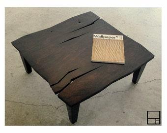 MSTRF // AD Rustic // Modern Rustic Distressed Coffee Table // 32 x 32 Square // Dark Walnut - Espresso Finish // Mid Century Modern Design
