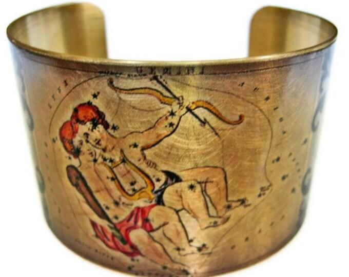 Gemini Zodiac Astrology Hoscope cuff bracelet brass Free Shipping Gifts for her