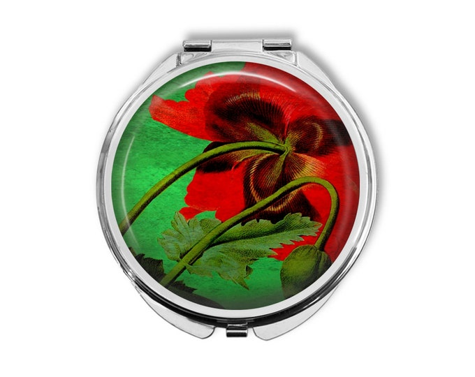 Underside of Poppy Compact Mirror Pocket Mirror Large Gifts for her