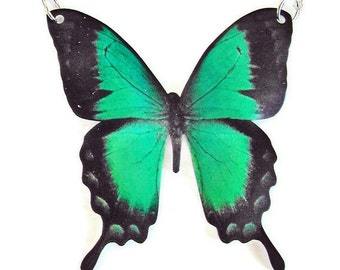 GREEN SWALLOWTAIL BUTTERFLY Large Pendant Necklace Free Shipping Gifts for her