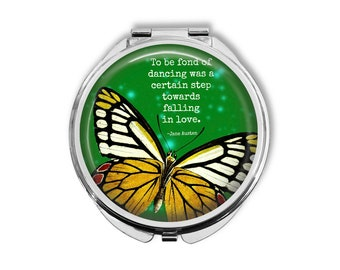 """Jane Austen """"To be fond of dancing..."""" Compact Mirror Pocket Mirror Large"""
