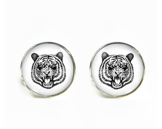 Tiger small post stud earrings Stainless steel hypoallergenic 12mm Gifts for her