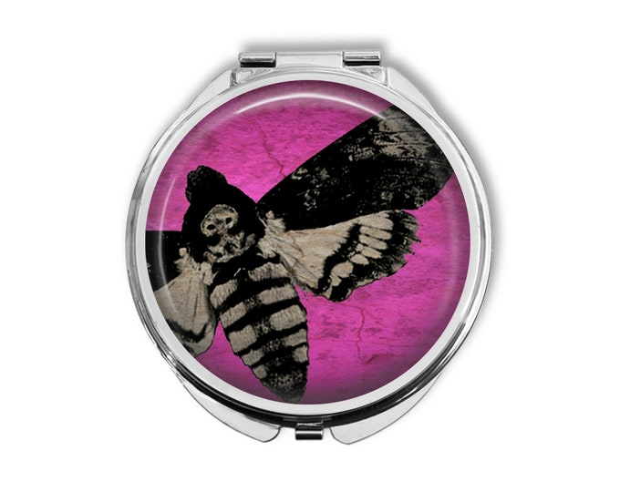 Death's Head Moth Compact Mirror Pocket Mirror Large Gifts for her