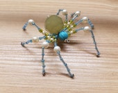 Green & Blue High Priestess Hand Beaded Spider with Stand