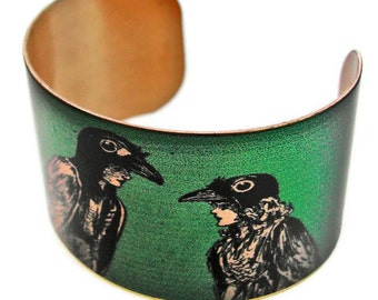 CROW Boy and CROW Girl cuff bracelet brass Gifts for her