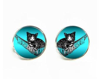 Kitten in Hammock small post stud earrings Stainless steel hypoallergenic 12mm Gifts for her
