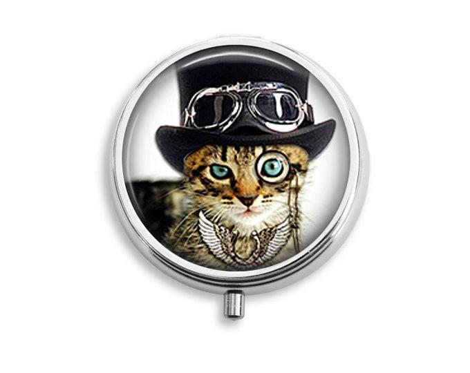 Dandy Cat Pill Box Stash Case Silver Steampunk