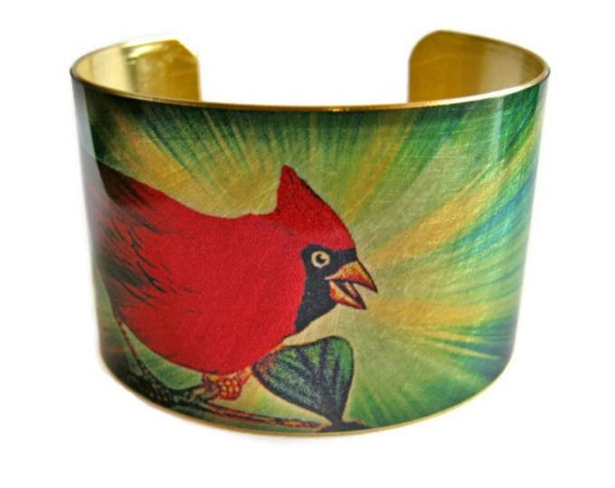 CARDINAL Bird Cuff bracelet BRASS   Gifts for her
