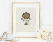 Hot Air Balloon Travel Art Print 8x10 5x7 4x6 Canvas Print STAR MS