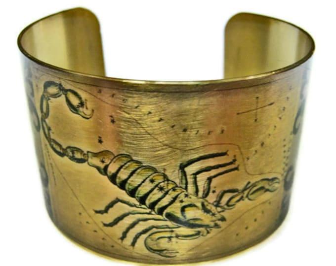 Scpio Zodiac Astrology Hoscope cuff bracelet Brass Gifts for her
