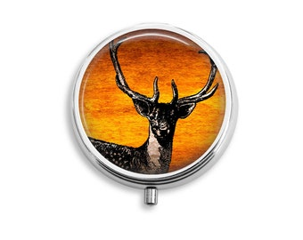 Pill Box Case Deer Silver Stash