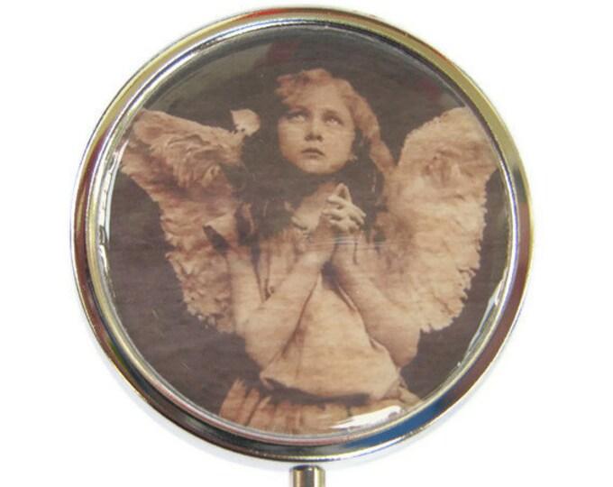 Angel Pill Box Stash Case Silver