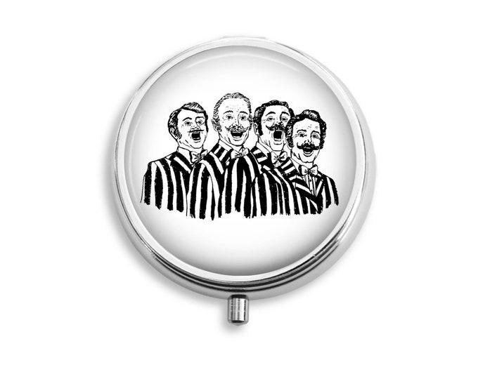Barbershop Quartet Pill Box Case Stash Silver Medicine pillbox