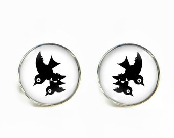 Birds small post stud earrings Stainless steel hypoallergenic 12mm Gifts for her
