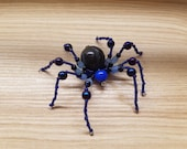 Blue High Priestess Hand Beaded Spider with Stand