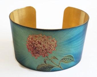 Hydrangea cuff bracelet brass Gifts for her