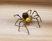 Yellow & Wood High Priestess Hand Beaded Spider with Stand