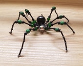 Green & Black High Priestess Hand Beaded Spider with Stand