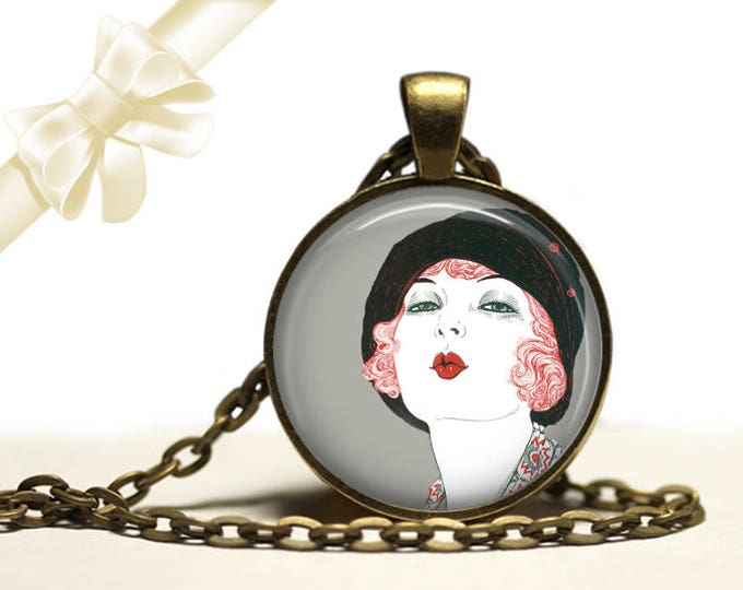 Flapper Kiss Necklace brass Pendant Necklace Free Shipping Gifts for her